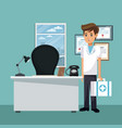 doctor at office vector image