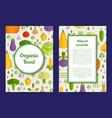 flat vegetables vegan healthy food card vector image
