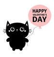 happy valentines day black cat toy icon holding vector image vector image