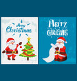 merry christmas saint nicholas checking wishes vector image vector image