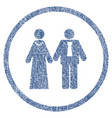 newlyweds rounded fabric textured icon vector image vector image