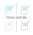 notepad with pencil hand drawn icons set vector image