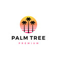 palm tree sunset logo icon vector image