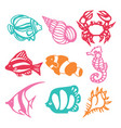 paper cut silhouette underwater animals set vector image vector image