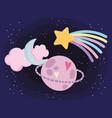 planet moon cloud shooting star love heart cartoon vector image vector image