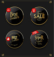 retro vintage gold and black badges and labels vector image vector image