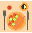 Sausages with vegetables in flat style vector image
