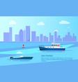 sea fishing on motor boats near long coast line vector image vector image