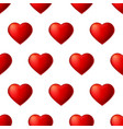 seamless pattern with volume red hearts isolated vector image