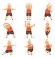 senior woman doing morning exercises active and vector image vector image