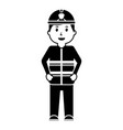 standing happy firefighter worker with uniform and vector image vector image