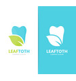 tooth and leaf logo combination dental vector image vector image