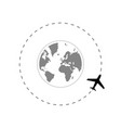 travel route around globe with airplane vector image vector image
