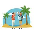 traveler couple beach landscape vacation vector image vector image