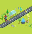 urban park and road isometric view for leisure and vector image vector image