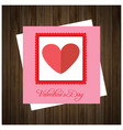 valentines day card with wooden background card vector image vector image