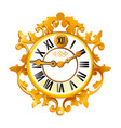 vintage golden wall clock with ornate dial vector image