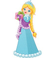 winter princess with a gift vector image vector image