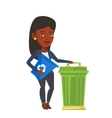 Woman with recycle bin and trash can vector image vector image