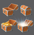 wooden chest treasure coffer old shiny gold case vector image