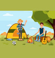 young couple in camping woman waving hand man vector image vector image