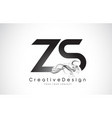zs letter logo design with black smoke vector image vector image