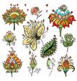 Set of floral bouquets retro flowers vector image