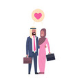arab business parents with suitcase couple in love vector image