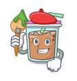 artist bubble tea character cartoon vector image vector image