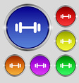 barbell icon sign Round symbol on bright colourful vector image vector image