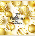 christmas background with tree balls ribbon vector image