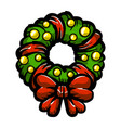 christmas festive holiday wreath bow icon vector image vector image