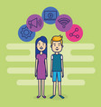 couple avatars with social media marketing vector image vector image