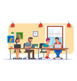 coworking center flat style vector image vector image