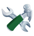 crossed hammer and spanner tools vector image