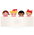 Cute multicultural christmas kids banner vector image vector image