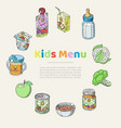 doodle kids menu and baby food poster vector image
