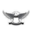 Eagle and badge symbol for logo and emblem design vector image vector image