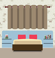 Flat Design Double Bed With Headboard vector image vector image