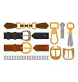 flat set of belt elements stylish leather vector image