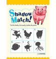 Game template with shadow matching pig vector image vector image