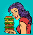 giant burger hungry woman eating fast food vector image vector image