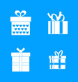 gift box icon blue set vector image