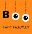happy halloween hanging word boo text eyeballs vector image vector image