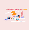 healthy lifestyle and ecology protection landing vector image vector image