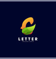 logo letter with leaf gradient colorful style vector image