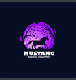 logo mustang silhouette style vector image vector image