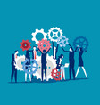 lots people working with gears rotating them vector image