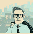 man in office clothes on megapolis city vector image