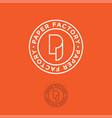 p monogram paper factory orange vector image vector image